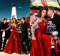 Wholesale vestidos festa longo lace resale online - 2018 Red Celebrity Sexy Prom Dress Mermaid Overskirts Appliue Vestidos De Festa Longo Lace Formal Occasion Evening Gowns Dresses