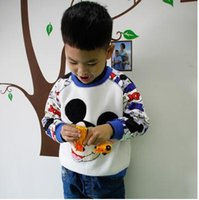 Wholesale Cartoon Boy Hood - New Boys Kids Clothing O-Neck Cartoon 100%Cotton Long Sleeve Warm Printing Leisure Sweater Coat Loose Comfortable Fashion Cute White Jacket