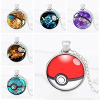 Wholesale gold poke for sale - Group buy 2017 Poke go halder necklace pocket monster charizard time gem glass cabochon necklace women men jewelry