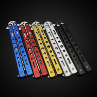 Wholesale Stainless Sharpening Steel - Non Sharpening Stainless Steel Folding Knife Comb Training Butterfly Practice Style Knife Comb Tool 5 Colors