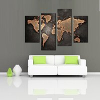 Wholesale Oil Paint Map - 4 Paenl Wall Art the Brown Background Abstract World Map Painting Print On Canvas For Home Wall Decor with Wooden Framed Ready to Hang