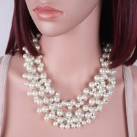 Wholesale Twisted Multi Strand Pearl Necklace - Bead Necklace New Fashion Multi Strand Pearl Beads Bohemian Necklace Women Statement Party Jewelry 6740