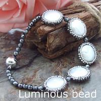 """Wholesale Pyrite Bracelet - AB051911 8'' White Round Coin Pearl Bracelet AB062612 8"""" White Coin Pearl Pyrite Bracelet"""