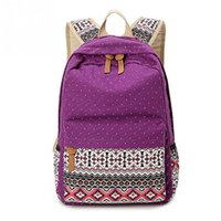Vintage Girl Sacs scolaires pour adolescents Cute Dot Printing Canvas Sac à dos femme Casual Schoolbag Backpack