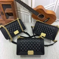 Wholesale Womens Pockets - New Style High quality 25cm casual Fashion womens handbags Cross Body totes Leather Plaid Flaps Shoulder Bags Gold Chain Hardwar bags purse