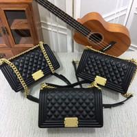 Wholesale Womens Cross Body Handbag - New Style High quality 25cm casual Fashion womens handbags Cross Body totes Leather Plaid Flaps Shoulder Bags Gold Chain Hardwar bags purse