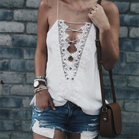Wholesale Lace Camisoles For Women - Summer Style Women Tops Sexy V Neck Camisoles For Ladies Black White Spaghetti Strap Lace Patchwork Hollow Back Cami Top FS1694