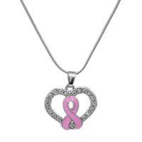 Wholesale Enamel Awareness Ribbons - Hot Sale Pink Enamel Breast Cancer Awareness Ribbon In Crystal Heart Pendant Necklace