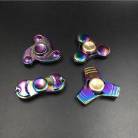 Wholesale Gas Kid - Hand Spinner Aluminum Colorful Fidget Spinner Stainless Steel Handspinner Clover tritium gas version EDC Toys