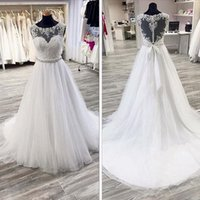 Wholesale White Heart Shape Dress - Gorgeous A Line Wedding Dress Sheer Crew Neck Lace Appliques Heart Shaped Back Bridal Gowns with Beaded Sash Sweep Train