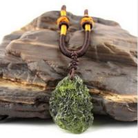 Wholesale Czech Crystal Necklaces - Hot Sale A++ Natural Moldavite Czech meteorite green aerolites crystal stone pendant energy apotropaic4g-6g  lot+ free rope Unique Necklace