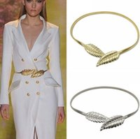 Wholesale Elastic Metal Buckle Belt - Free Shipping! Fashionable Women Belts Gold and Sliver Color Metal Leaves Elastic Waist Dress In Stock Strap Waistband High Quality