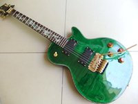 Wholesale Dragon Guitars - wholesale New Arrival 6 String lp custom electric guitar with abalone dragon inlay   with floyd tremolo top quality in green 110508