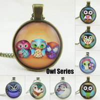 Unisex Fashion Owl Necklace Colgante Photo Copper Colgante Collares Vintage Locket Glass Colgante Cadenas baratos