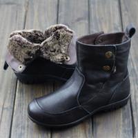 ingrosso scarpe da donna delle scarpe da donna-Scarpe da donna Australia Stivali da pelliccia Nero / Marrone Slip in vera pelle su stivaletti donna Stivali invernali da donna