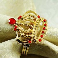 Wholesale Napkin Ring Crown - Wholesale- crown metal napkin ring napkin holder for wedding 24 pcs free shipping