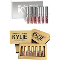 Wholesale Mix Matter - kylie 6pcs lipstick kit Gold Birthday Holiday Edition kylie jenner holiday matter liquid lipstick 6pcs set dhl ship