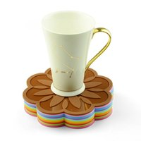 Wholesale Trays Cup Holders - 16.5*16.5*0.3Cm Creative Coasters Silicon Heat Resistant Cup Mat Tray Pot Mats Healthy Flavourless Kitchen Holder Mixed Colors