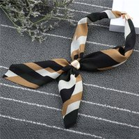 Wholesale Strip Chiffon - New Style Fashion Ladies Chiffon Scarves Top Grade Women Neckerchief All Seasons Strip Scraves Simple Scarves