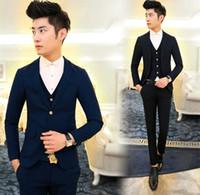 Wholesale Cool Slim Men Blazer - Wholesale- New Arrival Hot Brand 2016 men's fashion casual high quality cotton cool suit male slim korea style solid blazers vest and pants