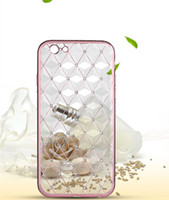 Wholesale Plaid Phone Cases - Crystal Transparent Phone Case Soft TPU Ling Plaid Metal Plating Cover For iPhone 6s 5 Sansung OPPO HUAWEI VIVO With Retail Box