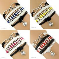Wholesale Infinity Trendy Silver Bracelets - (10 Pieces Lot) Infinity Love Volleyball Bracelet Trendy Sports Bracelet Volleyball Fans Gift Custom Any Themes Drop Shipping