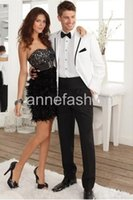 Wholesale Cheap Men S Wedding Suits - Free shoping New Arrival White Groom Tuxedos,Stunning Cheap Custom Made Wedding Party Groomsman Suit (Jacket+Pants+Tie)