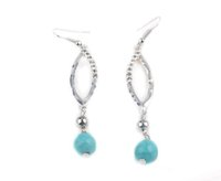 2017 Fashion Eye Shape Round Turquoise Hook Boucles d'oreilles pour les filles Prom Dance Charms Femmes Ladies Party Jewelry Gift