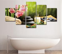 Unframed 5 Piece The Bamboo And Stones Modern Home Wall Decor Canvas Art Art Hd Print Peinture Sur Toile Oeuvres