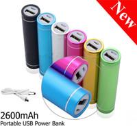 Wholesale Emergency Powerbank Battery - Power Bank Portable 2600mAh Cylinder PowerBank External Backup Battery Charger Emergency Power Pack Chargers for Mobile Phones