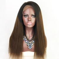 Wholesale Brazilian Yaki Wigs - Full Lace Human Hair Wigs Yaki Straight Ombre T1b 30 Brazilian Virgin Hair 130 Density With Baby Hair Lace Front Wig Bleached Knots