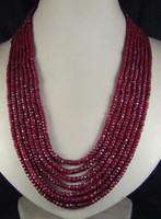 Wholesale Ruby Faceted Necklace - 2x4mm NATURAL RUBY FACETED BEADS NECKLACE 7 STRAND 17-23""