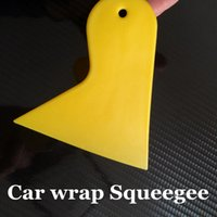 Wholesale small scrapers - Small Yellow Squeegee For Car Wrap Applicator Tool Scraper 100 pcs   Lot FREE SHIPPING