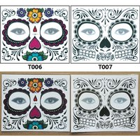 Wholesale Tattoo Sticker Wholesale Supply - Christmas party Facial day of the dead faced Tattoo Halloween masquerade Supplies pretty tattoo sticker waterproof faced tattoo C2884