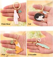Wholesale Charms Crocodiles - Animal Alloy Key Chain For Women Girl - Bear Fox Cat Crocodile Keychain Keyring Bag Charm Pendant Jewelry Trinket Bag Aceessory