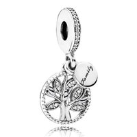 Wholesale Silver Pendant Bracelets - 925 Sterling Silver Bead Charm Family Heritage Tree Of Life With Crystal Pendant Beads Fit Women Pandora Bracelet Bangle Diy Jewelry HK4009