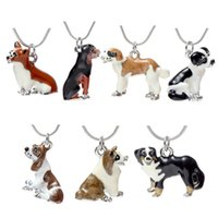 Wholesale Necklace Pendants For Kids - New Enamel Dog Necklace Cute Best Friends Pet Dog Pendants Fashion Jewelry for Women Kids Christmas Gift drop Shipping