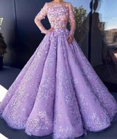 Wholesale Sexy Celebrity See Through Dress - Lavender See Through Sexy Prom Dresses Lace Appliques Illusion Long Sleeves Evening Gowns Beads Celebrity cocktail Dress