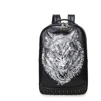 Wholesale good quality laptops - 3D Wolf head women men designer backpack rivert sport bag fashion computer bags laptop good quality PU leather Hardware big capacity