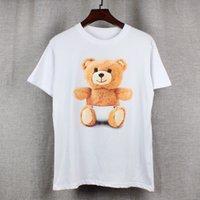 Wholesale Cute Bear Long Shirt - 2017 new high-end men's brand t-shirt fashion Cute and cuddly Little bear printing atmosphere t shirt long-sleeved t shirt men