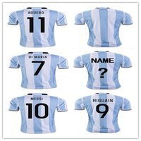 Wholesale Men Mix Color Shirt - 2017 New Argentina Soccer Jerseys MESSI Home Color DI MARIA AGUERO Thai Quality Argentina Football Rugby Jersey Shirt MIx Order