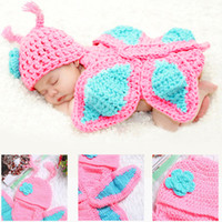 Unisex Birth-12 months Accessories Baby Photography Prop Butterfly Crochet knitting Costume Baby Outfits Set For Newborn Boys And Girls Photography Cap 2017 BP028