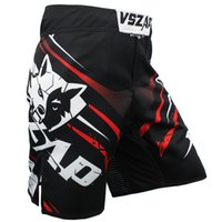 Wholesale Cheap Mma - Wholesale- VSZAP MMA shorts fight Muay Thai explosion Fighting wolf Durable fabrics Elastic crotch cheap mma shorts men cheap Casual shorts