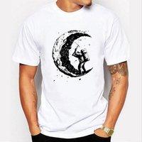 Wholesale Dig Blue - Summer 100% cotton t shirts digging the moon print casual mens o-neck t shirts fashion men's tops men T-shirt short sleeve men tshirt