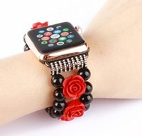 Wholesale italian adapter - Handmade Black Agate + Plastic flowers Bracelet Strap Band for Apple Watch,Replacement iWatch Strap Band with Metal Adapter,No-clasp