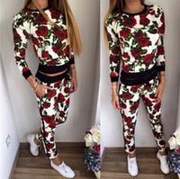 Wholesale tracksuit women flowers - Wholesale- 2017 flowers women's Tracksuits women Sport Suit Sweatshirt two piece set tracksuit Girls moletom Hoodies Jogging suit for women