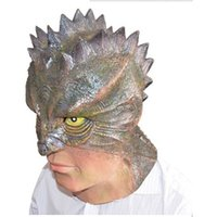 Wholesale Lizard Halloween Costume - Lizard-Man Latex Mask Full Face Halloween Simulation Animal Rubber Masks Masquerade Party Costume Cosplay Props Adult Size 10pcs lot