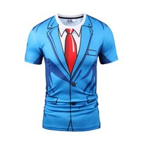 Wholesale Mens Printed T Shirts Sale - Whole sale high quality 2017 blue color formal suit t-shirts 3d print fashion mens causal soft material tees o-neck hip hop sweatshirts