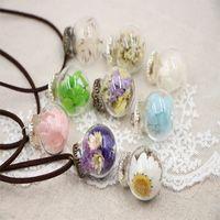 ingrosso orbite terrarium-Collana del fiore dei monili del Terrarium del piccolo orb del gioiello con la sfera di vetro riempita con il regalo del pendente del fiore secco per le donne B58Q
