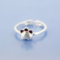 5pcs / lot New Arrival Pure 925 Sterling Silver Lovely Cat Paw Rings pour les femmes Déclaration Bijoux Fashion Open Adjustable Finger Ring